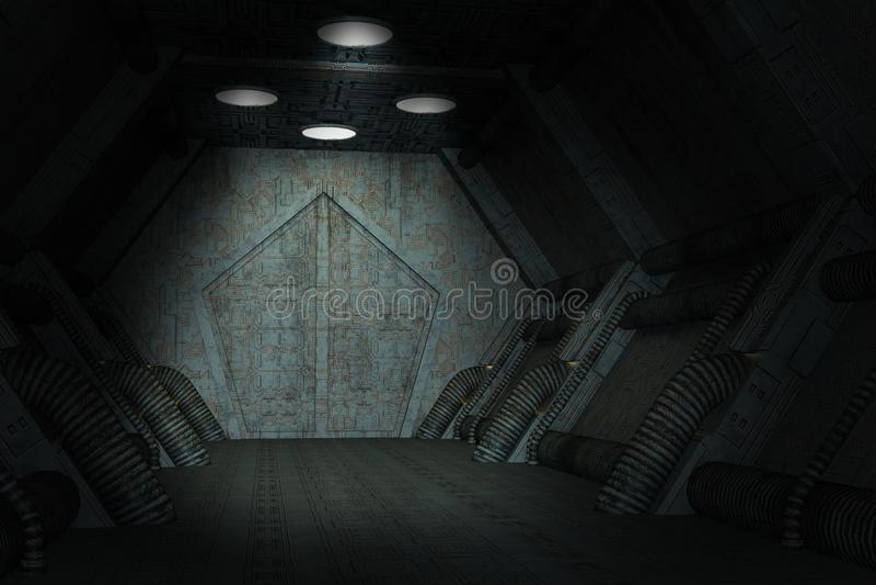 Dark Science Fiction Spaceship Background royalty free illustration