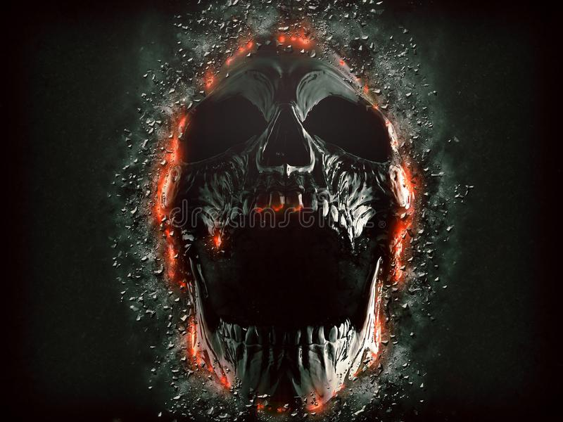 Dark screaming skull emerging from the rock wall. Isolated on black background vector illustration