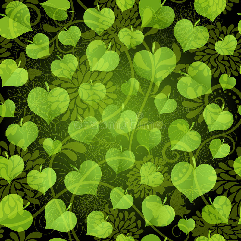 Dark seamless pattern with green leaves stock illustration