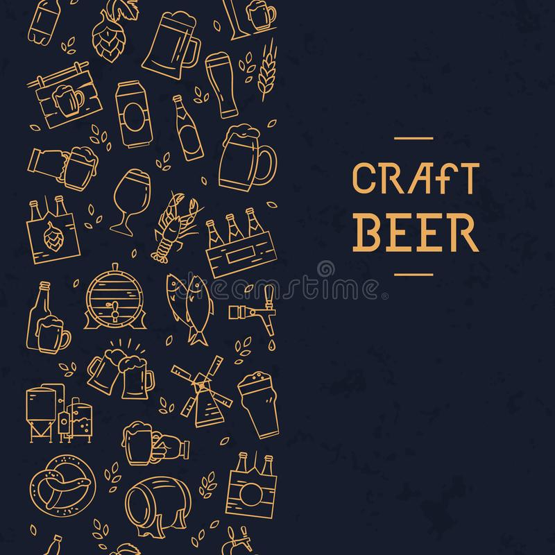 Dark seamless vertical pattern beer of hand-drawn icons on the theme of beer stock illustration