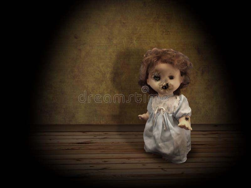 Dark series - vintage spooky doll royalty free stock photos