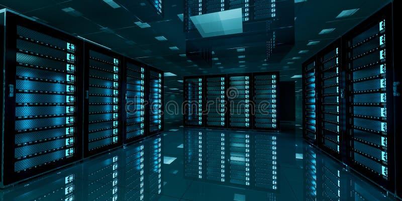 Dark Server Room Data Center Storage 3d Rendering Stock