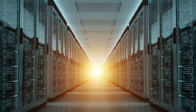 Server room data center interior 3D rendering. Dark server room data center storage interior 3D rendering vector illustration