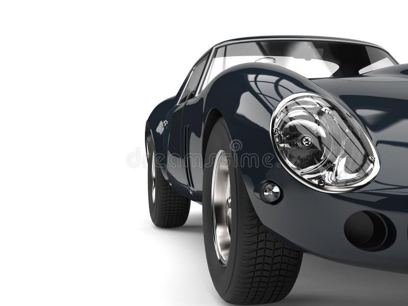 Dark shiny awesome vintage race car - headlight closeup shot. Isolated on white background vector illustration