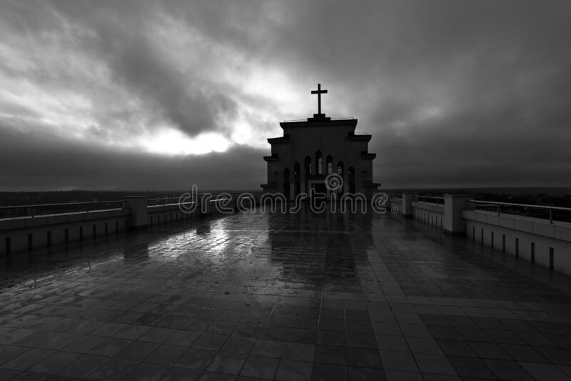 Dark shot of Christ's Resurrection Church Kaunas in Lithuania royalty free stock photography