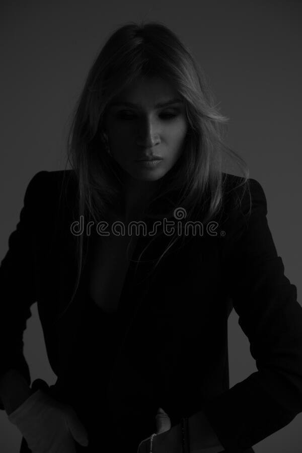 Free Dark Side Of Personality. Portrait Girl Model In Black Jacket Royalty Free Stock Photography - 182545957