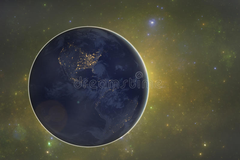 Dark side of the planet Earth royalty free illustration