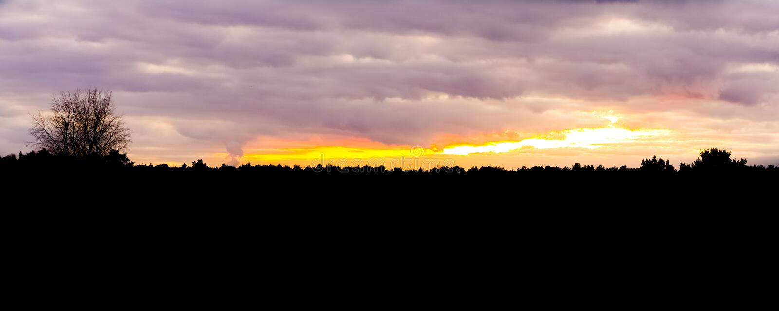 Dark silhouette of a heather forest landscape during the sunset, colorful sky and clouds royalty free stock image