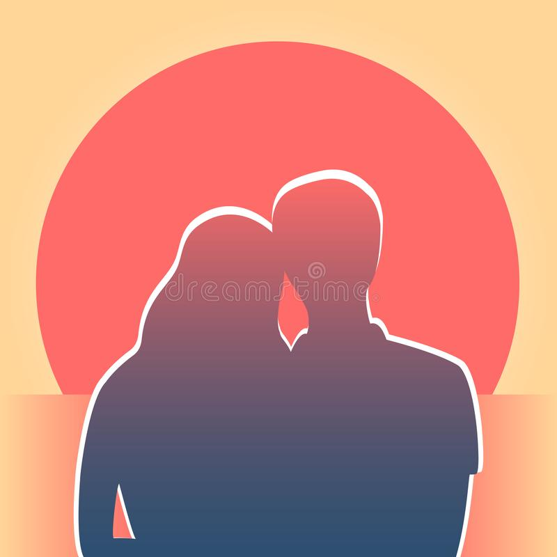 Silhouette of a couple at sunset. Dark silhouette of a young couple at sea. Having embraced, the guy and the girl look at the setting red sun. Vector square royalty free illustration