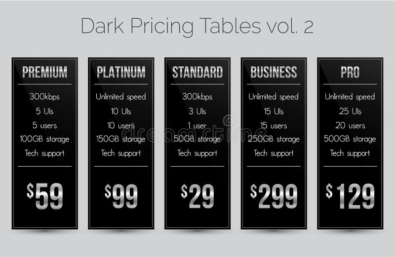 Dark & silver pricing tables - set of five price banner templates suitable for web and e-shops. Set of five dark pricing tables - modern sleek design in black vector illustration