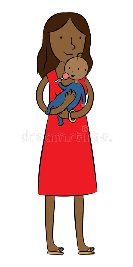 Download Dark Skin Mother Holding Her Baby Stock Vector - Image: 20631476