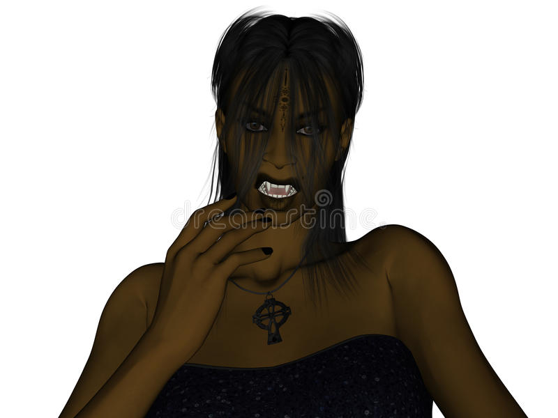 Dark Skinned Vampire. Dark skinned, vampire snarling royalty free illustration