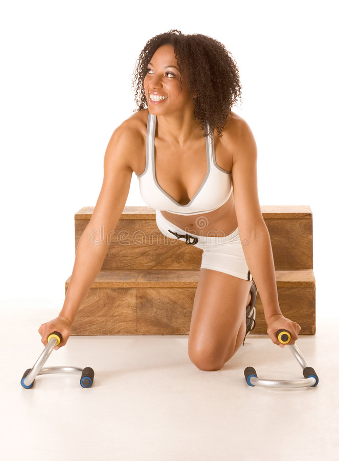 Download Dark Skinned Woman With Push Up Bars Stock Image - Image of athlete, conscious: 4735505
