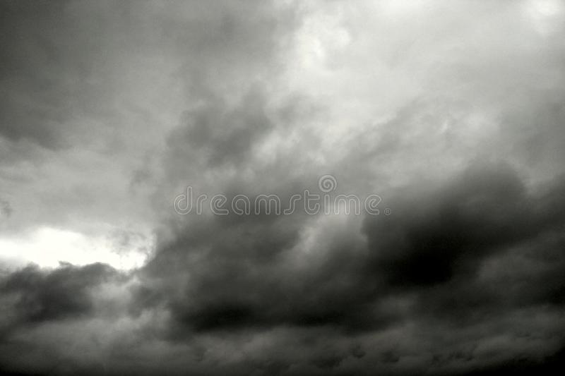 Dark sky and black cloud monochrome stock photography