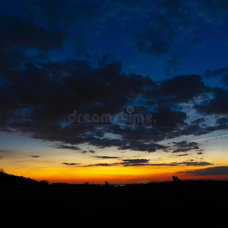 Dark sky with clouds dawn. Dark sky with clouds at dawn royalty free stock photo