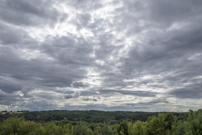 Dark sky and dramatic black cloud before rain. Weather concept, landscape, nature, background, climate, scene, summer, wild, disaster, storm, tornado, cell royalty free stock photos