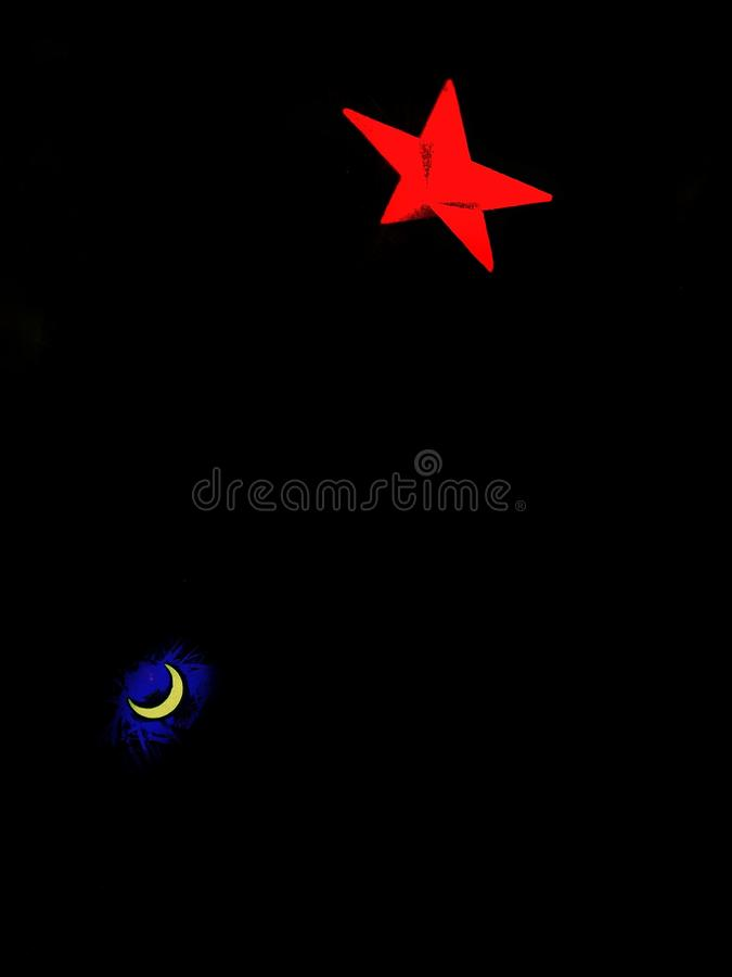 Dark sky fantasy vibes. Imaginary noir and blur of moon and star. Concept for Holidays, celebration, decoration. stock photo