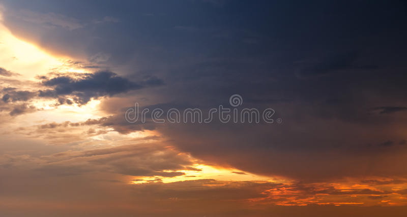 Dark sky with heavy clouds stock images