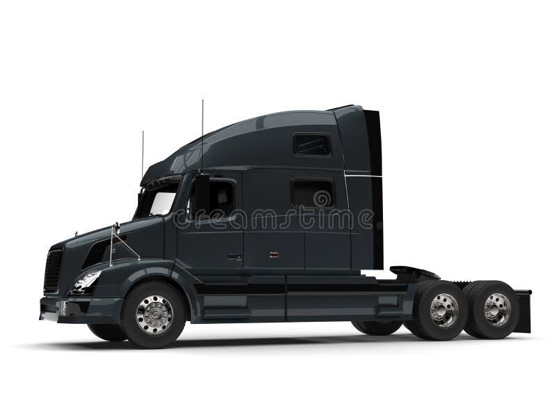 Dark slate gray modern semi trailer truck - side view royalty free illustration