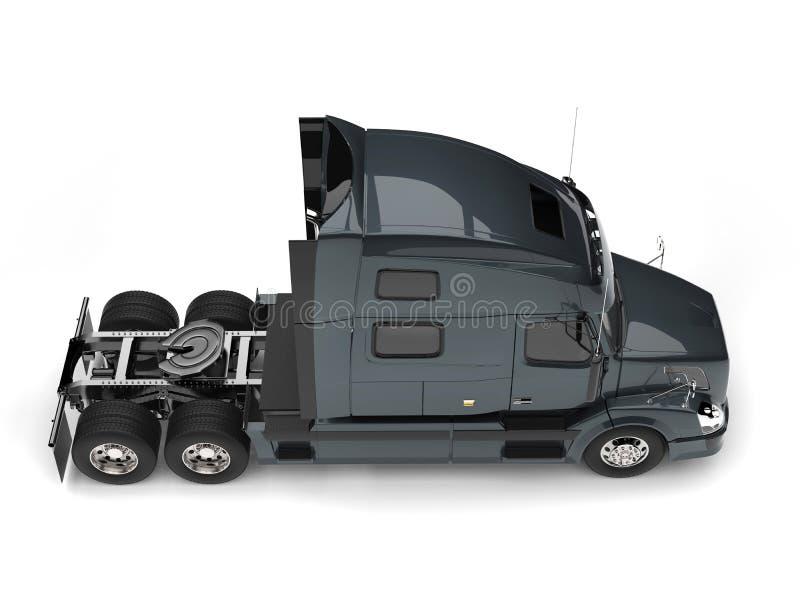 Dark slate gray modern semi trailer truck - top down view vector illustration