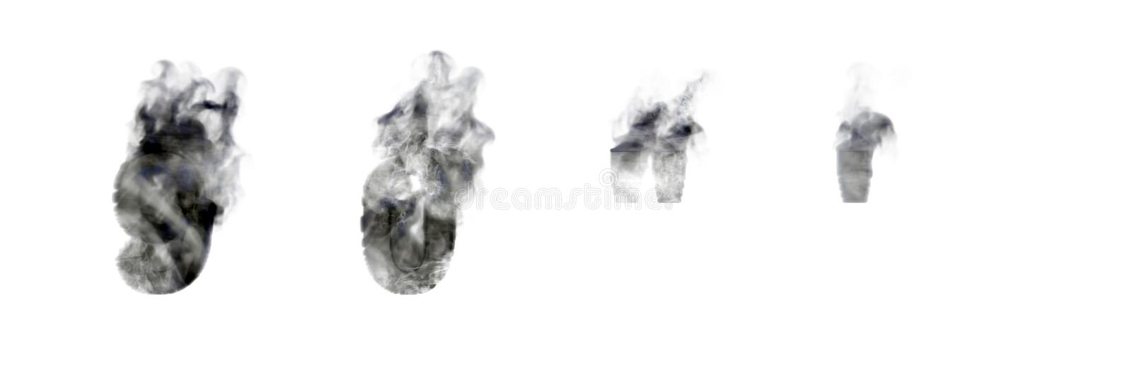 Dark smoke numbers 9 and 0, apostrophe and quotations marks isolated on white background, disaster or magic concept alphabet - 3D royalty free illustration