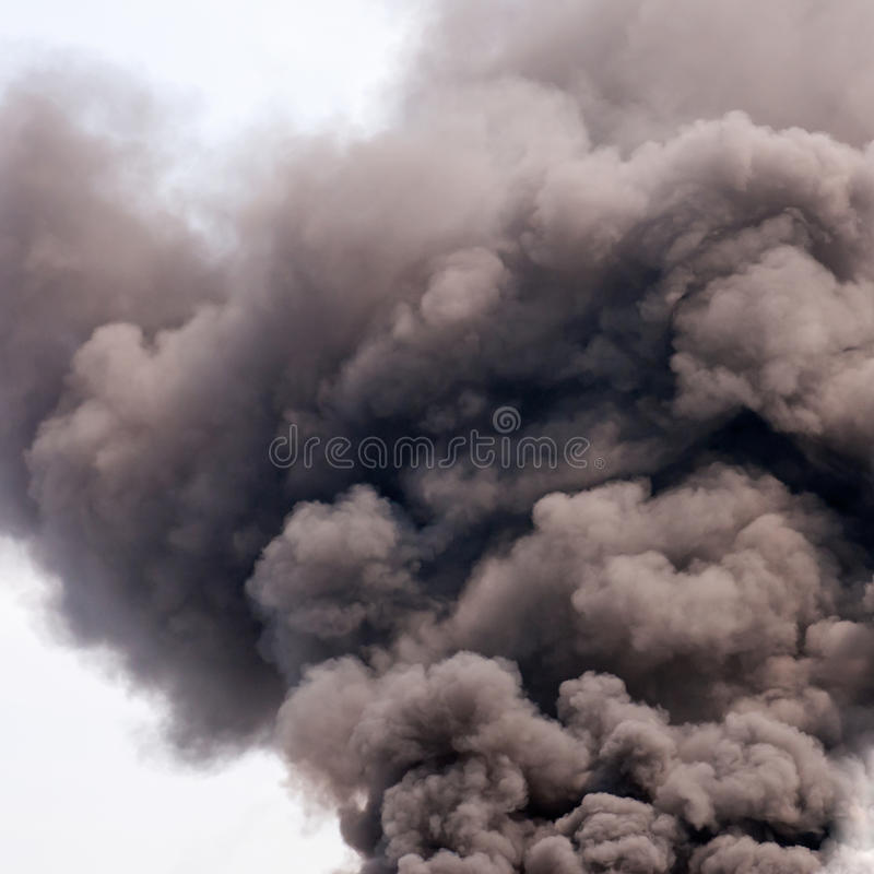 Dark smoke stock image
