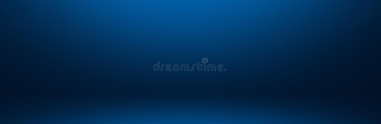 Dark and soft blue abstract cement wall and studio room gradie. Nt background stock illustration