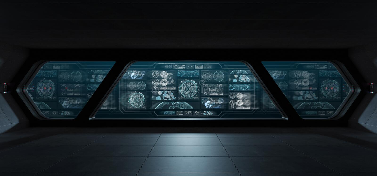 Dark spaceship interior with control panel digital screens 3D re stock illustration
