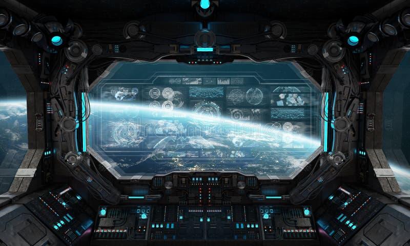 Dark spaceship interior with control panel digital screens 3D rendering stock illustration