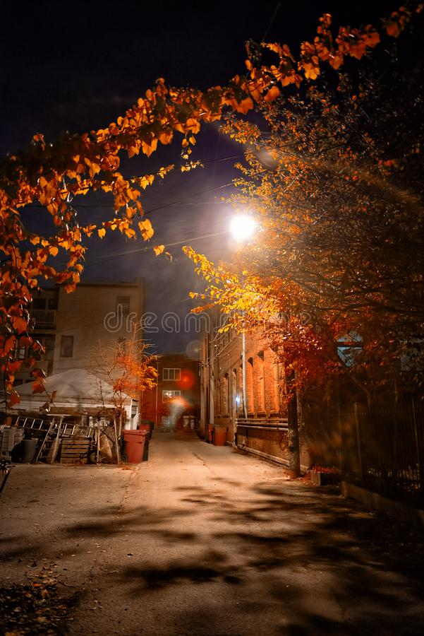 Dark and spooky vintage downtown urban city street alley at night royalty free stock photos