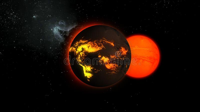 3d illustration of a star with lava flows on a surface in space. stock illustration