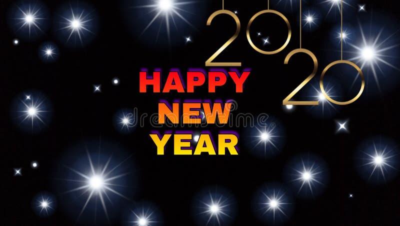 Dark stars background of happy new year 2020 royalty free illustration