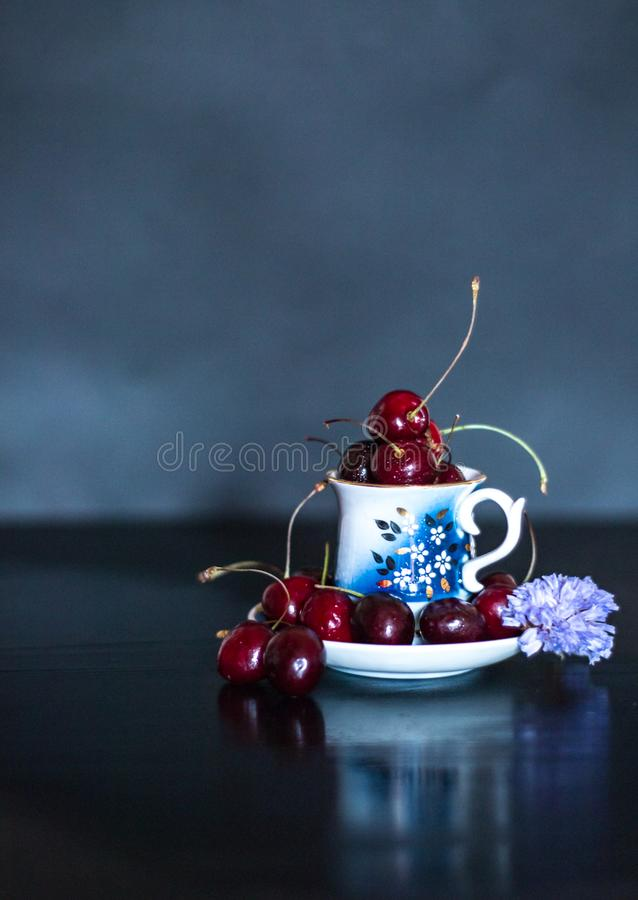Dark stillife with porcelain cup of fresh cherries with purple flower royalty free stock photo