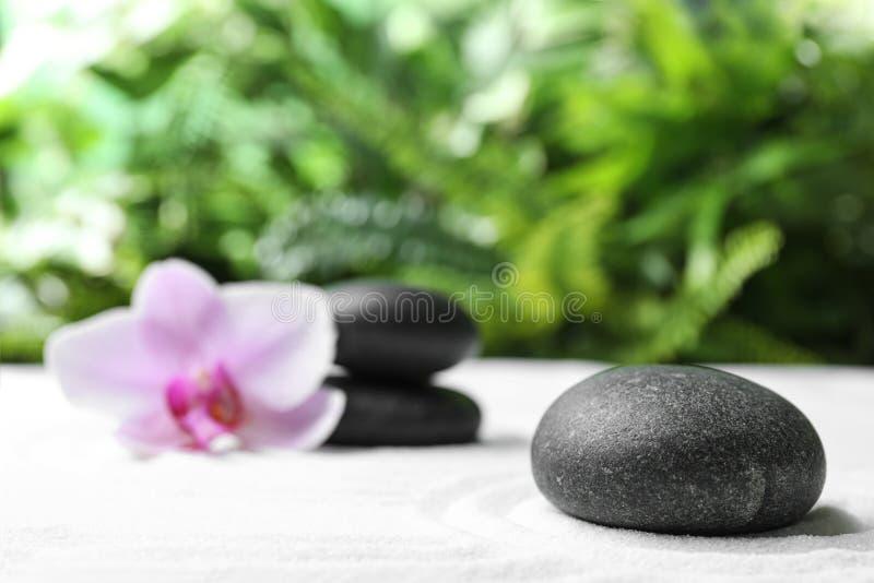 Dark stones and beautiful flower on sand against green background. Zen, meditation, harmony. Dark stones and beautiful flower on sand against blurred green stock image