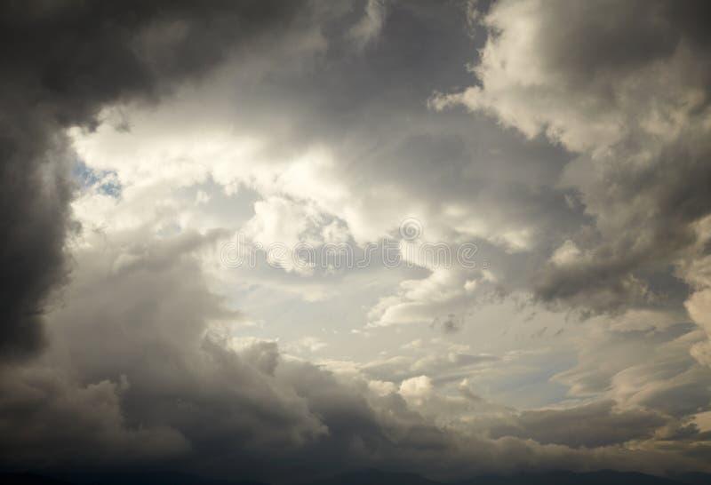 Dark storm clouds. Dramatic sky stock photos