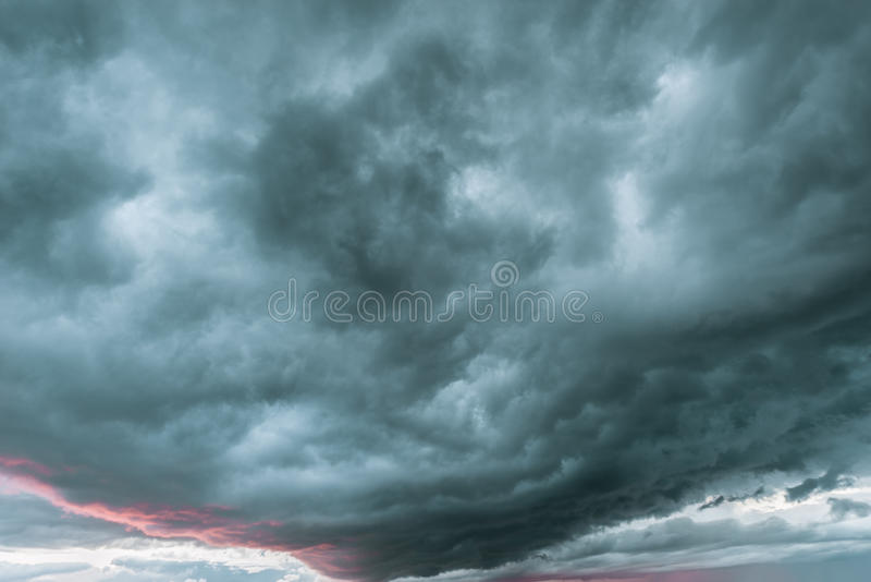 Dark storm clouds. stock images