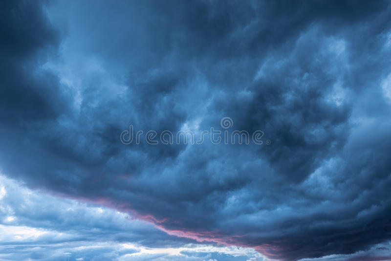 Dark storm clouds. stock photo