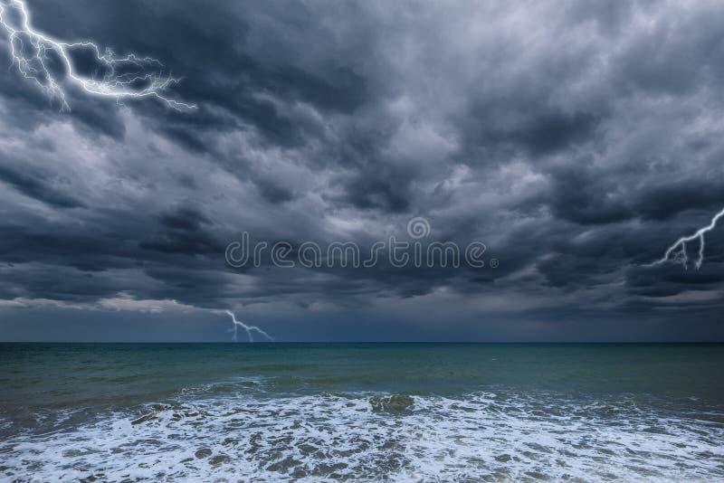 Dark stormy sky above the ocean. stock photography