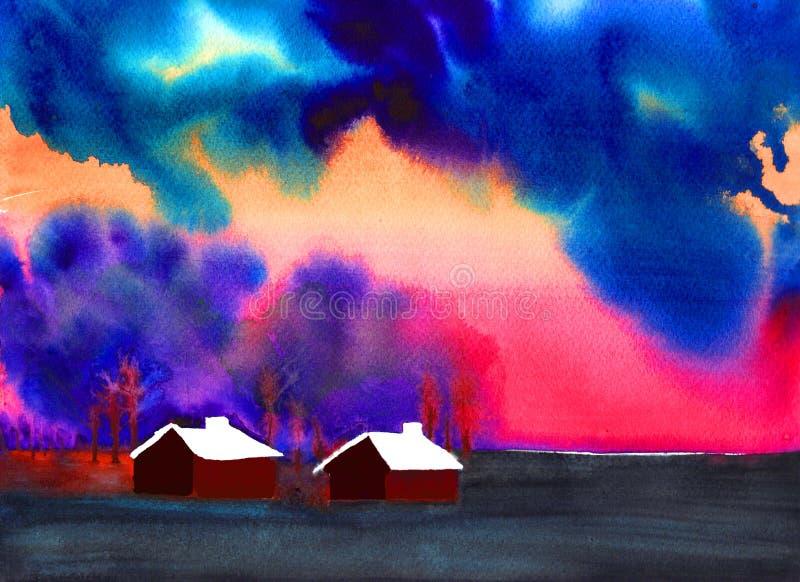 Dark stormy sky royalty free illustration