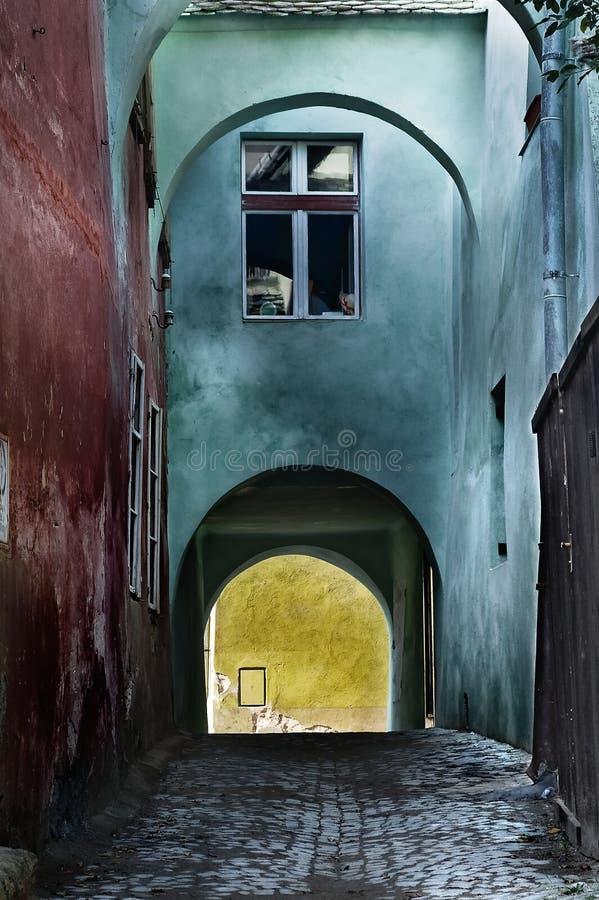 Dark street at Sighisoara royalty free stock photography