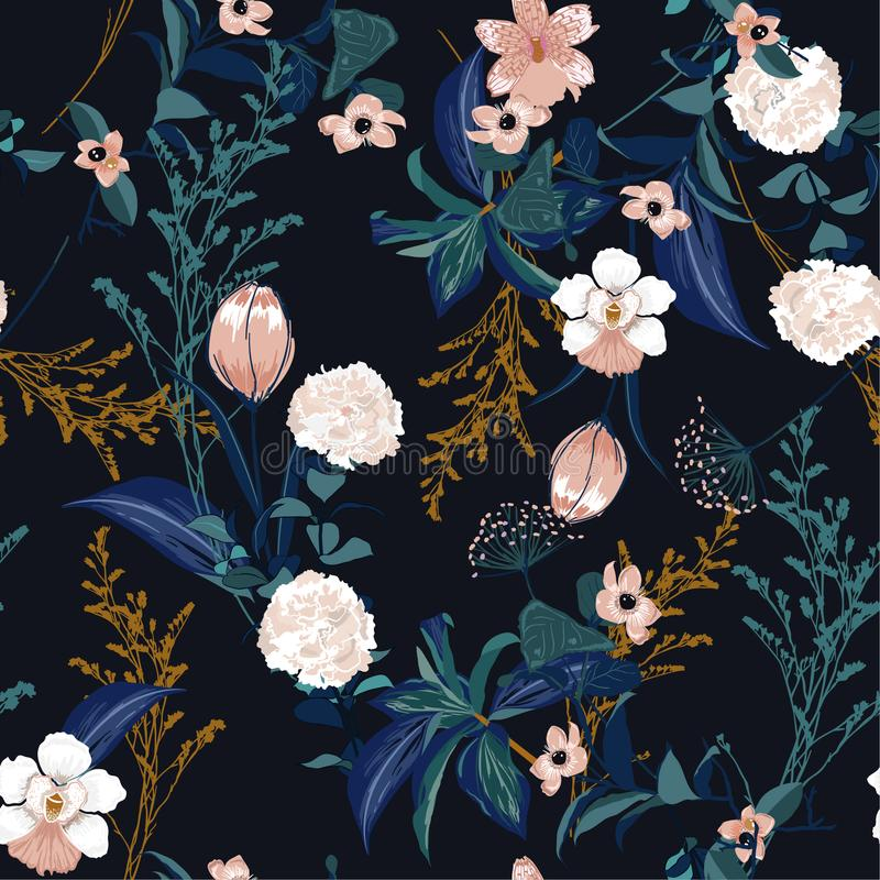 Dark stylish blooming colorful forest garden Floral pattern in t. He many kind of flowers and leaves . Tropical botanical ,Seamless vector texture.for fashion royalty free illustration