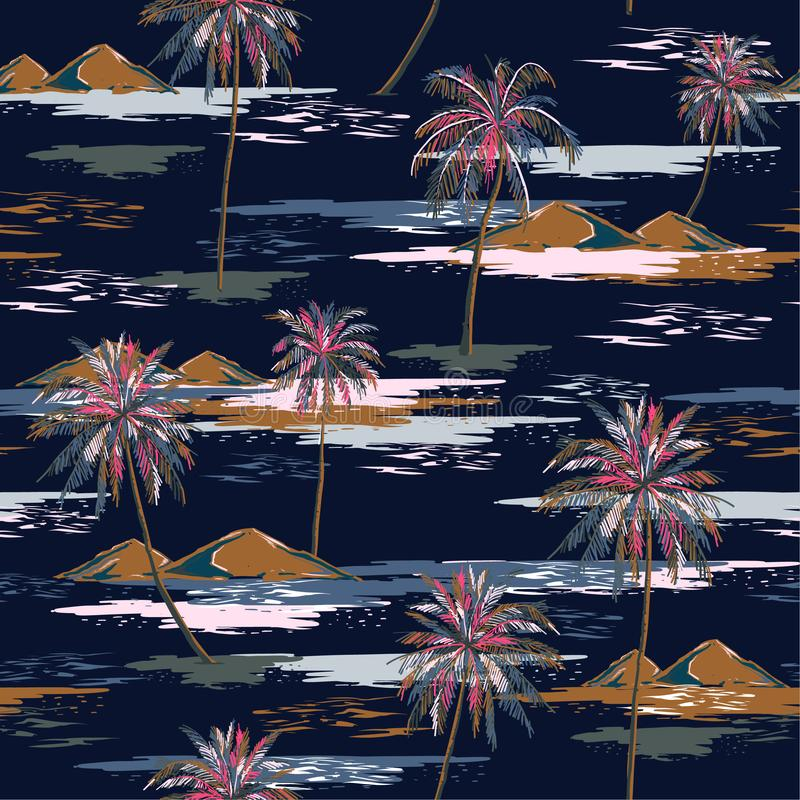 Dark summer night Seamless island pattern Landscape with colorful palm trees,beach and ocean vector hand drawn style. On navy blue color background.Design for vector illustration