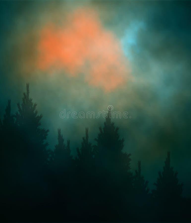 Dark sunset forest stock illustration