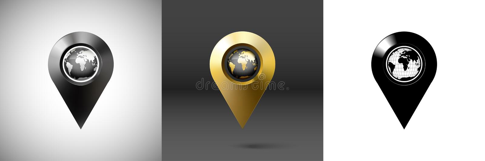 Dark surround the globe with marker location. Vector illustration royalty free illustration