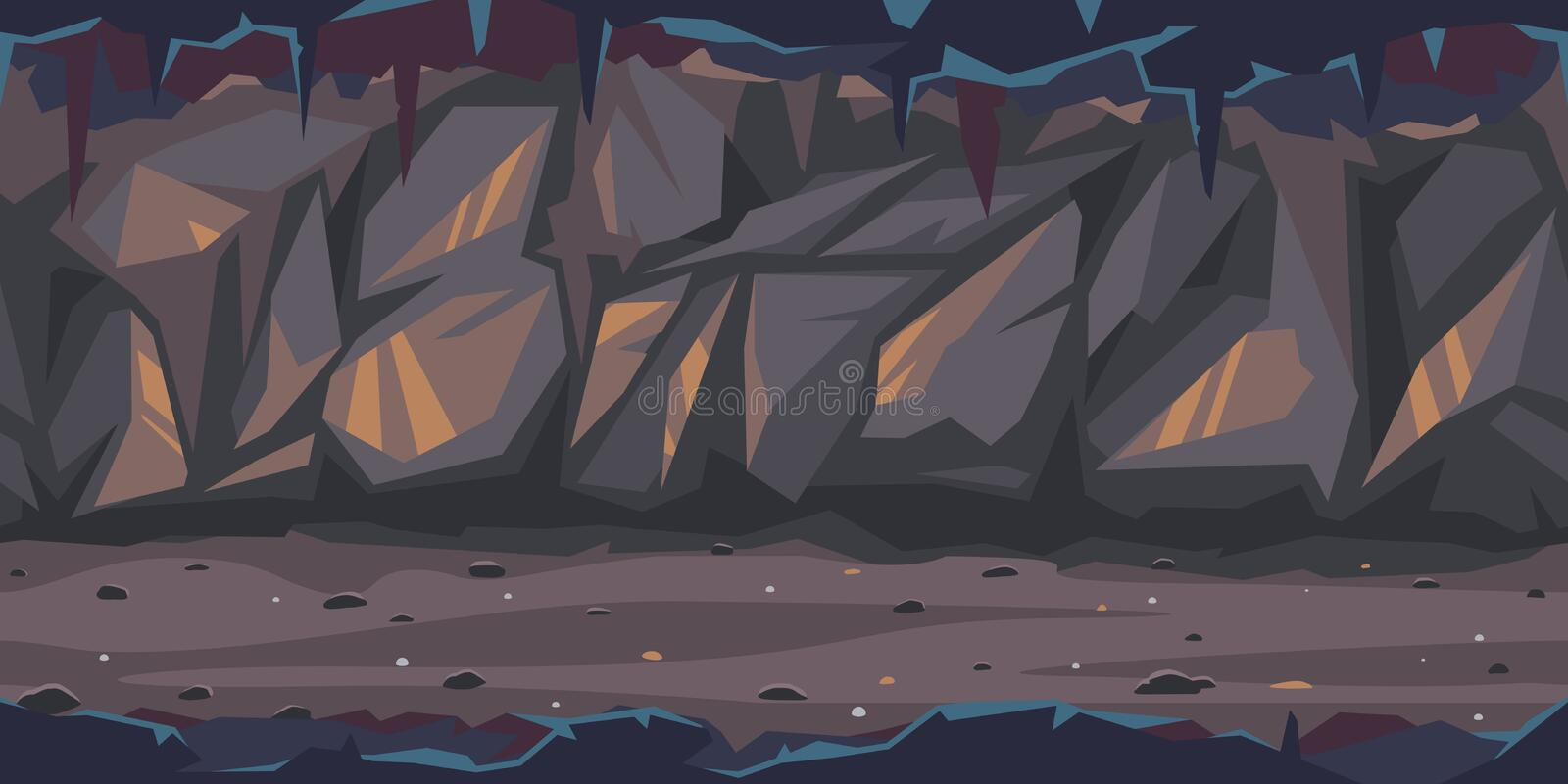 Dark terrible cave game illustration background. Path is crossing the dark cave game background tillable horizontally, dark terrible empty place with rock walls royalty free illustration