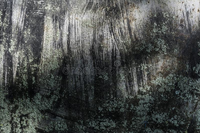 The dark texture gray metal with splashed black paint, grunge abstract background stock image