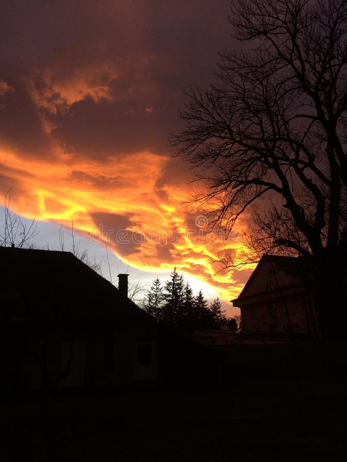 Clouds On Fire At Sunset Stock Photo Image Of Dark 154659404