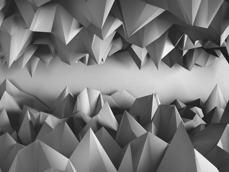 Dark triangle poligons pattern wall background. 3d render illustration royalty free stock photo