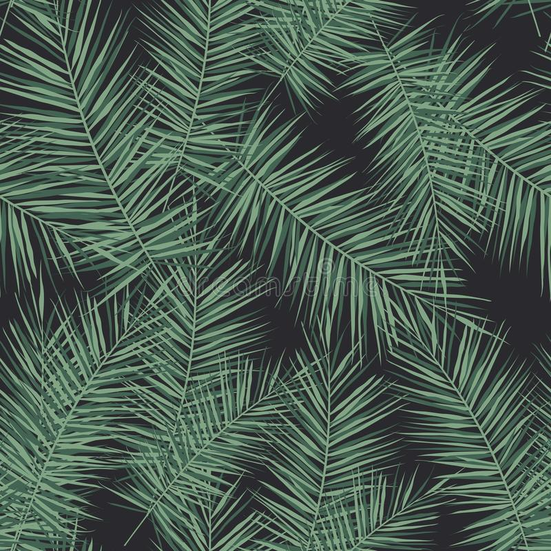 Dark tropical background with jungle plants. Seamless vector tropical pattern with green palm leaves. Seamless tropical palm leaves and hibiscus flowers stock illustration