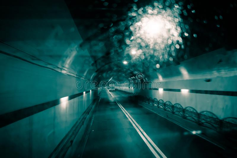 Dark tunnel car at night of the trip target. royalty free stock photos